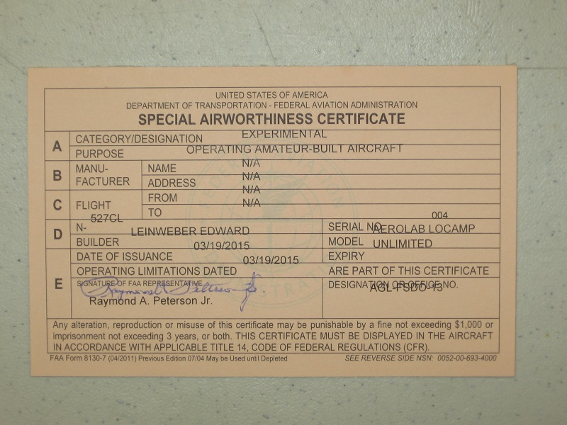 FAA Airworthiness Certificate Issued for LoCamp N527CL!